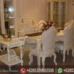 Set Meja Kursi Makan Jepara Putih Mewah Terbaru MM-057