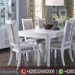 Meja Kursi Makan Set Jepara Putih Cantik Terbaru MM-087