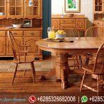 Set Meja Kursi Makan Tiffany Natural Jati Mewah Terbaru MM-096
