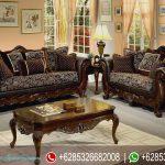Set Sofa Tamu Klasik Vintage Natural Jati Ukir Jepara Mewah Terbaru SRT-117