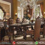 Set Meja Makan Jati Natural Klasik Versailles Mewah Terbaru MM-213