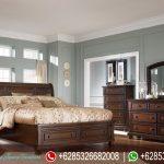 Set Kamar Tidur Minimalis Jati Natural Mewah Terbaru Metropolitan KT-186