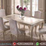 Set Meja Makan Mewah Duco Putih Ukiran Jepara Klasik Modern Terbaru Chambre MM-277