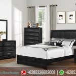 Set Tempat Tidur Minimalis Jati Black Mewah Modern Terbaru KT-213